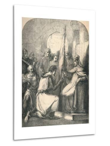 Hugh De Vermandois Receiving a Consecrated Banner from Pope Urban, 1869--Metal Print