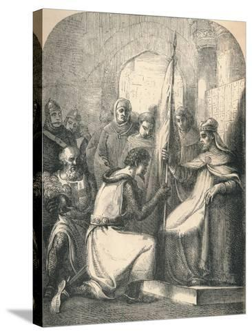 Hugh De Vermandois Receiving a Consecrated Banner from Pope Urban, 1869--Stretched Canvas Print