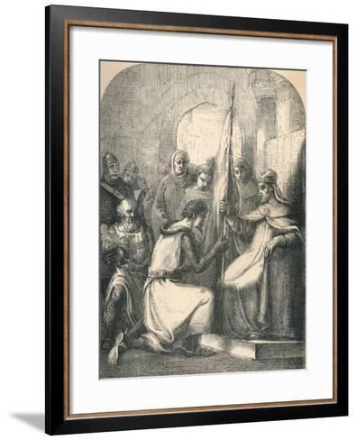 Hugh De Vermandois Receiving a Consecrated Banner from Pope Urban, 1869--Framed Art Print