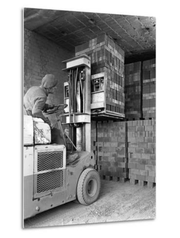 A Yardsman Stacking Pallets of Bricks, Whitwick Brickworks, Coalville, Leicestershire, 1963-Michael Walters-Metal Print