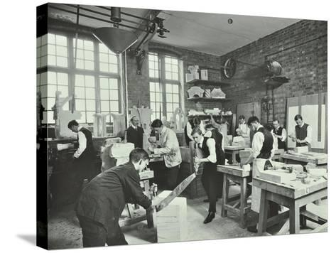Male Students at Work in the Masons Shop, Northern Polytechnic, London, 1911--Stretched Canvas Print