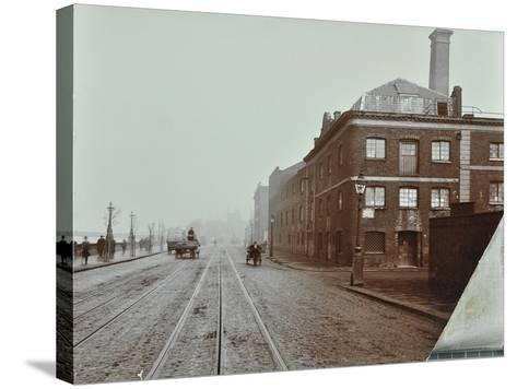 Tramlines on the Albert Embankment, Lambeth, London, 1909--Stretched Canvas Print