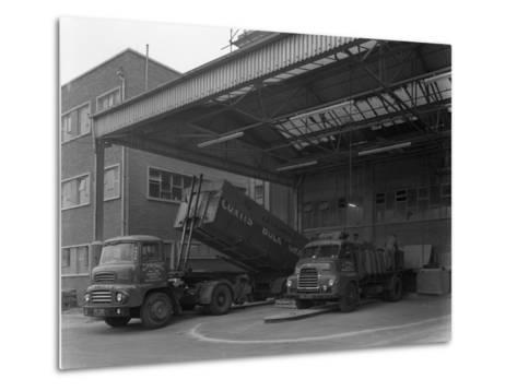 Unloading and Loading Lorries, Spillers Animal Foods, Gainsborough, Lincolnshire, 1961-Michael Walters-Metal Print