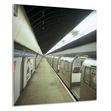 Tube Train Standing at Blackhorse Road Station on the Victoria Line, London, 1974-Michael Walters-Metal Print