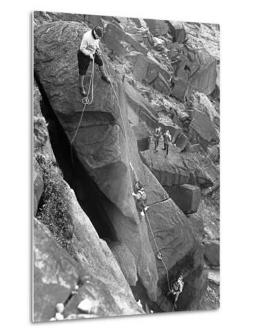 Climbers on Stanage Edge, Hathersage, Derbyshire, 1964-Michael Walters-Metal Print