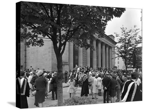 University Graduates Outside Sheffield City Hall, South Yorkshire, 1967-Michael Walters-Stretched Canvas Print