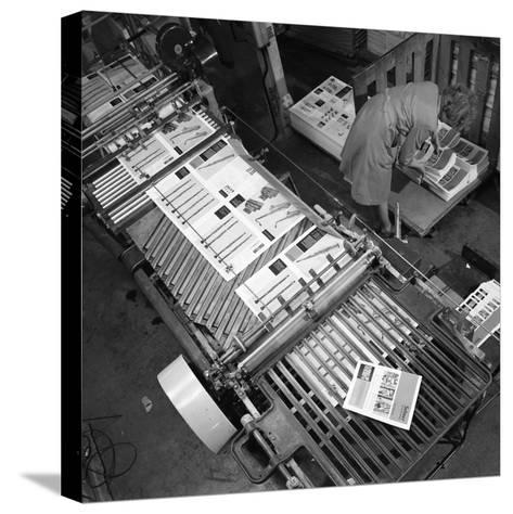 Stacking Finished Brochures at a Printers, Mexborough, South Yorkshire, 1959-Michael Walters-Stretched Canvas Print