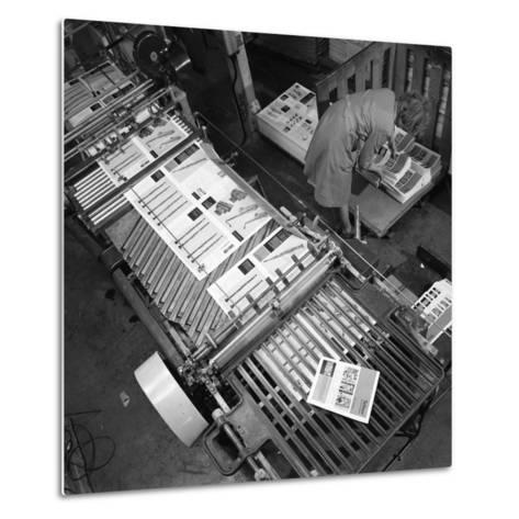 Stacking Finished Brochures at a Printers, Mexborough, South Yorkshire, 1959-Michael Walters-Metal Print