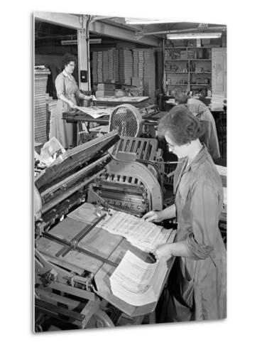 A Folding Machine in a Printworks, Mexborough, South Yorkshire, 1959-Michael Walters-Metal Print