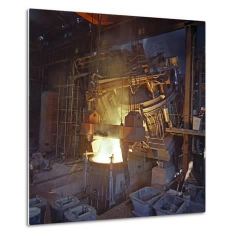 75 Ton Arc Furnace Pouring Molten Steel into a Vessel, Sheffield, South Yorkshire, 1969-Michael Walters-Metal Print