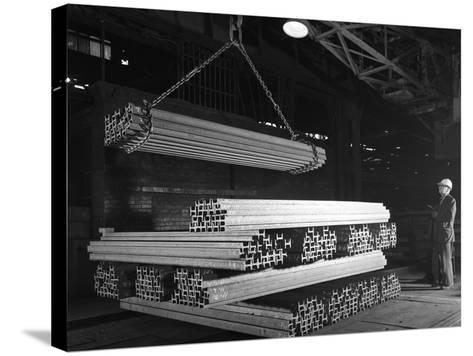 Steel H Girders Being Stacked for Distribution, Park Gate, Rotherham, South Yorkshire, 1964-Michael Walters-Stretched Canvas Print