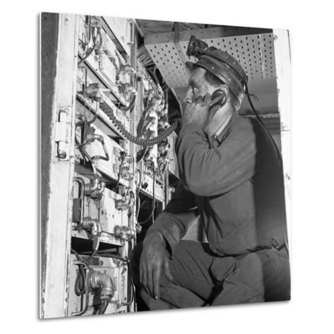 Comunications, a Miner from Bevercotes Colliery, Nottinghamshire, 1967-Michael Walters-Metal Print