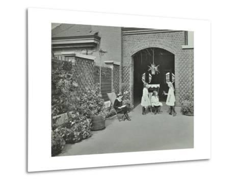 Girls Relaxing in a Roof Top Garden, White Lion Street School, London, 1912--Metal Print