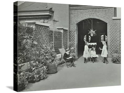 Girls Relaxing in a Roof Top Garden, White Lion Street School, London, 1912--Stretched Canvas Print