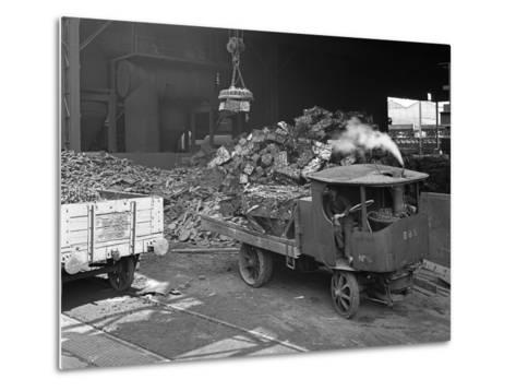 Loading a Steam Wagon with Scrap at a Steel Foundry, Sheffield, South Yorkshire, 1965-Michael Walters-Metal Print