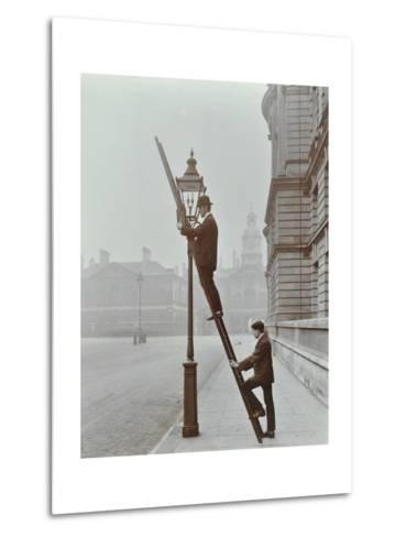 Testing Gas Pressure in Street Lighting, Westminster, London, 1910--Metal Print