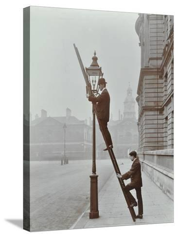Testing Gas Pressure in Street Lighting, Westminster, London, 1910--Stretched Canvas Print