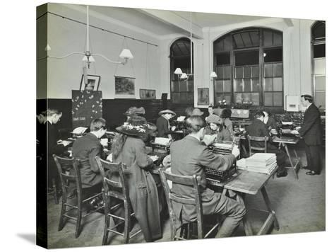 Typewriting Class, Hammersmith Commercial Institute, London, 1913--Stretched Canvas Print