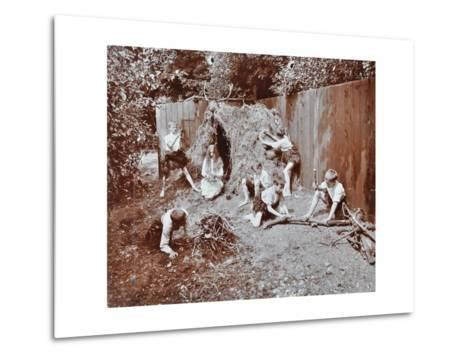 Children Dressed as Prehistoric Cave Dwellers, Birley House Open Air School, London, 1908--Metal Print