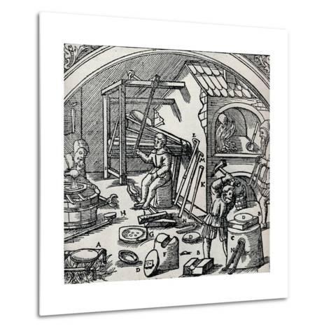 A Silver Refinery, 1556, (1917)--Metal Print
