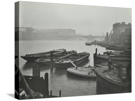 Barges Moored at Bankside Wharves Looking Downstream, London, 1913--Stretched Canvas Print