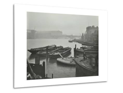 Barges Moored at Bankside Wharves Looking Downstream, London, 1913--Metal Print