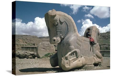 Protome of a Double Horse, the Apadana, Persepolis, Iran-Vivienne Sharp-Stretched Canvas Print