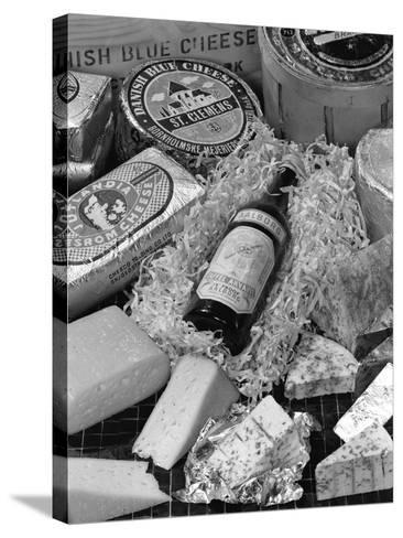 A Selection of Danish Cheeses and a Bottle of Aalborg Aquavit, 1963-Michael Walters-Stretched Canvas Print