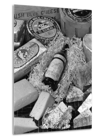 A Selection of Danish Cheeses and a Bottle of Aalborg Aquavit, 1963-Michael Walters-Metal Print