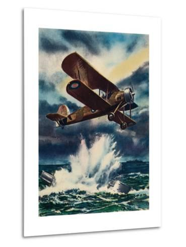 An Artists Impression of a Fairey Swordfish Sinking a U Boat in the North Sea, 1940--Metal Print