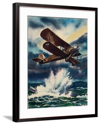 An Artists Impression of a Fairey Swordfish Sinking a U Boat in the North Sea, 1940--Framed Art Print