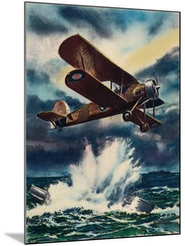An Artists Impression of a Fairey Swordfish Sinking a U Boat in the North Sea, 1940--Mounted Giclee Print