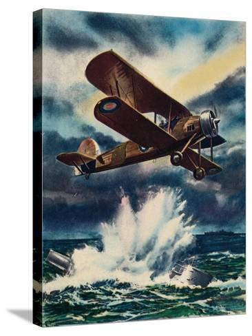 An Artists Impression of a Fairey Swordfish Sinking a U Boat in the North Sea, 1940--Stretched Canvas Print