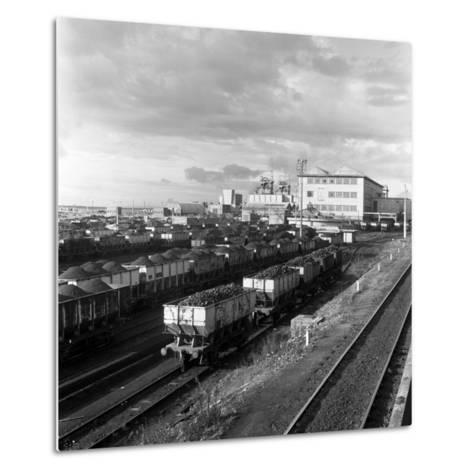 Rail Trucks Loaded with Coal Leaving Lynemouth Colliery, Northumberland, 1963-Michael Walters-Metal Print