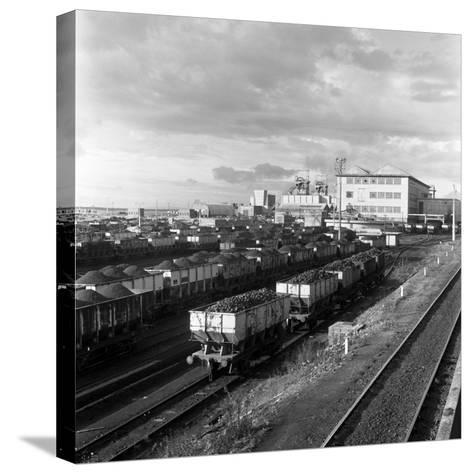Rail Trucks Loaded with Coal Leaving Lynemouth Colliery, Northumberland, 1963-Michael Walters-Stretched Canvas Print