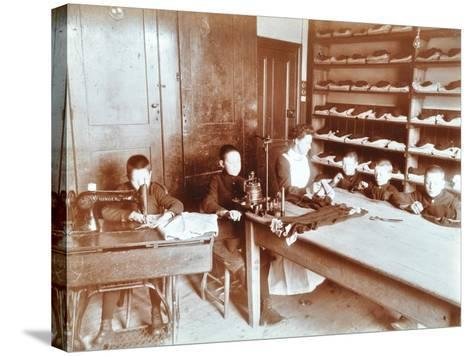 Boys Sewing at the Boys Home Industrial School, London, 1900--Stretched Canvas Print