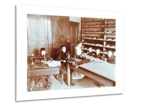 Boys Sewing at the Boys Home Industrial School, London, 1900--Metal Print