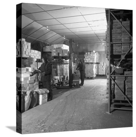 Workers in a Cold Store at Modern Foods, Mexborough, South Yorkshire, 1973-Michael Walters-Stretched Canvas Print