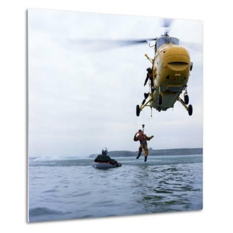 Westland Whirlwind Helicopter Making a Rescue, 1973-Michael Walters-Metal Print