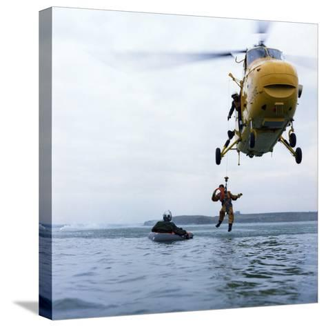 Westland Whirlwind Helicopter Making a Rescue, 1973-Michael Walters-Stretched Canvas Print