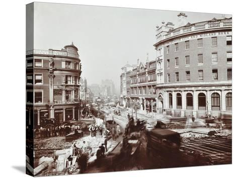 Tramway Electrification at the Junction of Goswell Road and Old Street, London, 1906--Stretched Canvas Print
