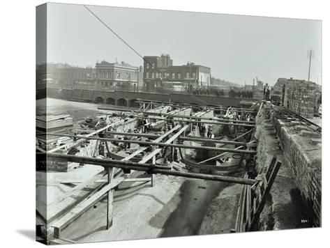 Building the Sewer at Stratford High Street, West Ham, London, 1905--Stretched Canvas Print