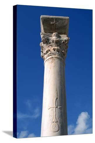 Cross Inscribed on a Column, Apollonia, Libya-Vivienne Sharp-Stretched Canvas Print