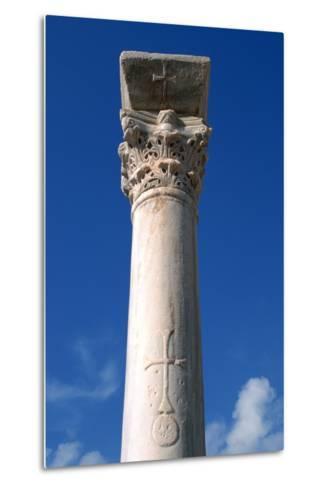 Cross Inscribed on a Column, Apollonia, Libya-Vivienne Sharp-Metal Print