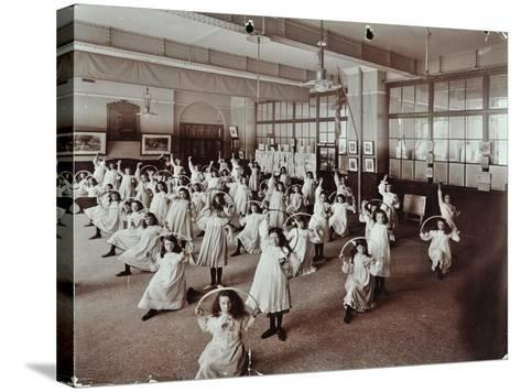 Girls with Hoops, Lavender Hill Girls School, Bermondsey, London, 1906--Stretched Canvas Print