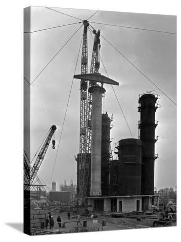 High Pressure Coal Gasification Plant under Construction at Coleshill, West Midlands. 28th May 1-Michael Walters-Stretched Canvas Print