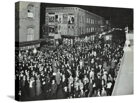 Crowds of Shoppers in Rye Lane at Night, Peckham, London, 1913--Stretched Canvas Print