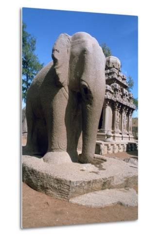 Carved Stone Elephant, Five Rathas, Mahabalipuram, Tamil Nadu, India-Vivienne Sharp-Metal Print