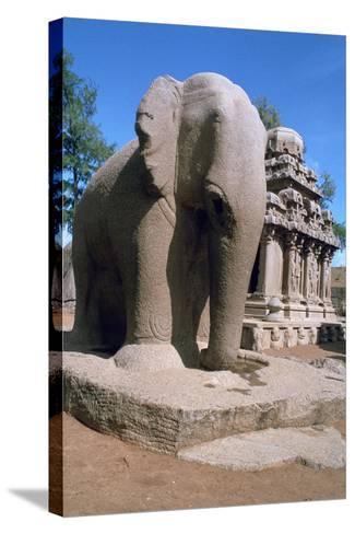 Carved Stone Elephant, Five Rathas, Mahabalipuram, Tamil Nadu, India-Vivienne Sharp-Stretched Canvas Print