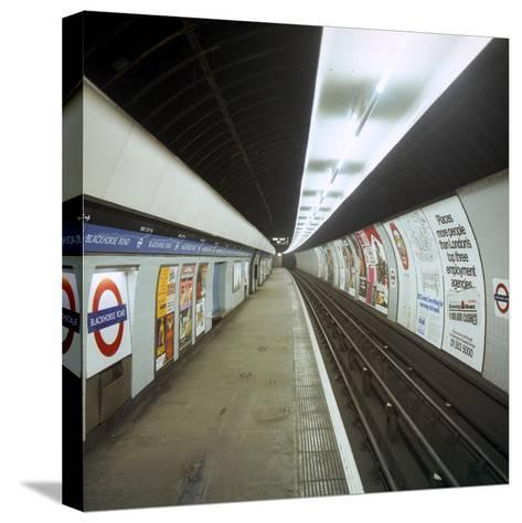 Empty Tube Station, Blackhorse Road on the Victoria Line, London, 1974-Michael Walters-Stretched Canvas Print